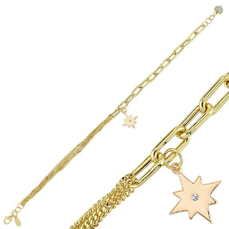 Kutup Yıldızı Figürlü Altın Bileklik