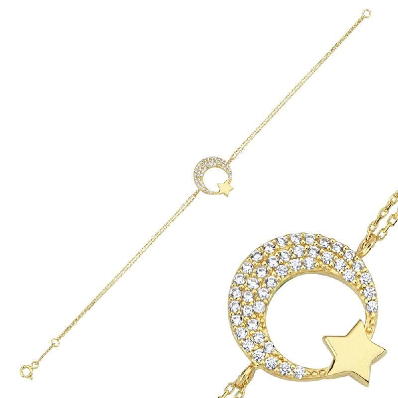 Ay Yıldız Taşlı Altın Bileklik