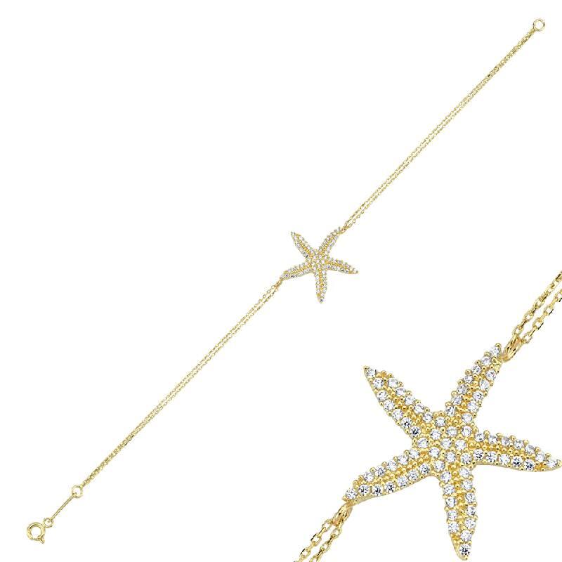 Deniz Yıldızı Taşlı Altın Bileklik