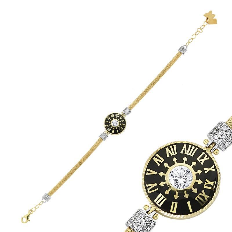 Saat Figürlü Taşlı Altın Bileklik