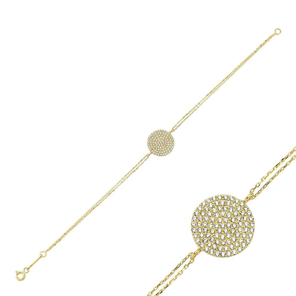 Altın Geometrik Formlu Taşlı Bileklik