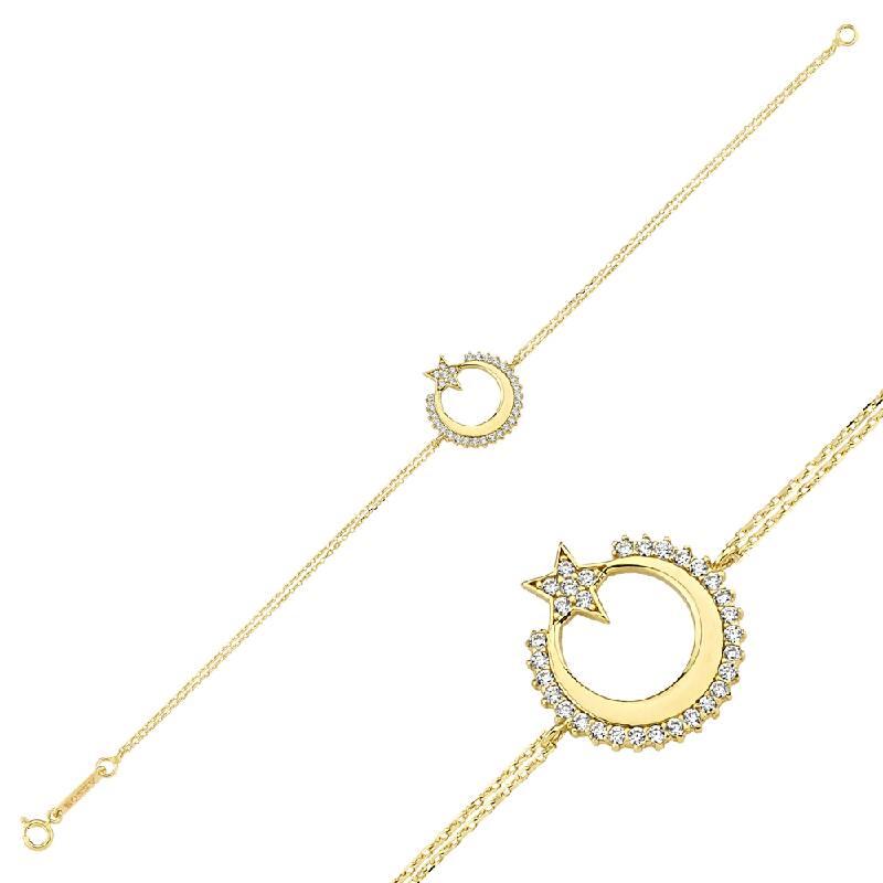 Altın Ay-Yıldız Bileklik