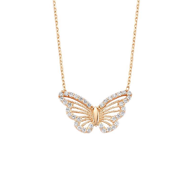 Altın Kelebekli Taşlı Kolye