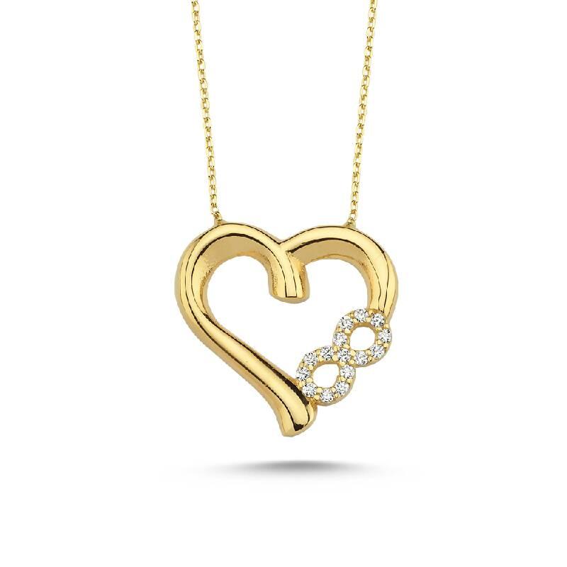 Kalpli Sonsuz Taşlı Altın Kolye