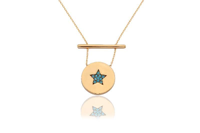 Altın Mavi Taşlı Yıldız Kolye