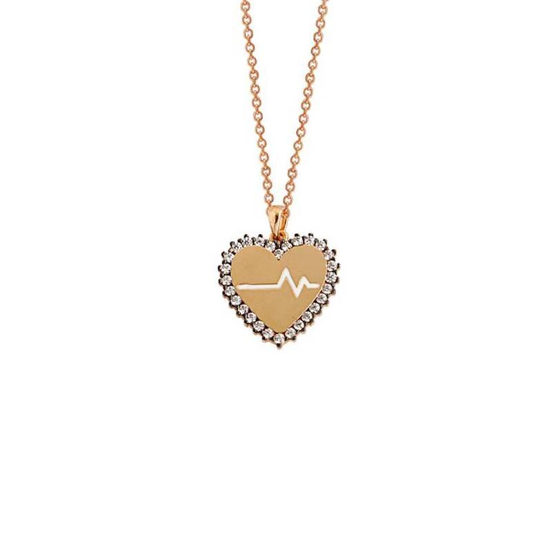 Kalpli Taşlı Altın Kolye-KL6072