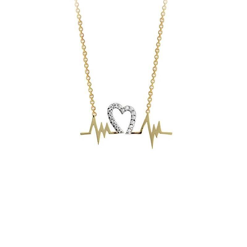 Kalpli Nabız Figürlü Taşlı Altın Kolye