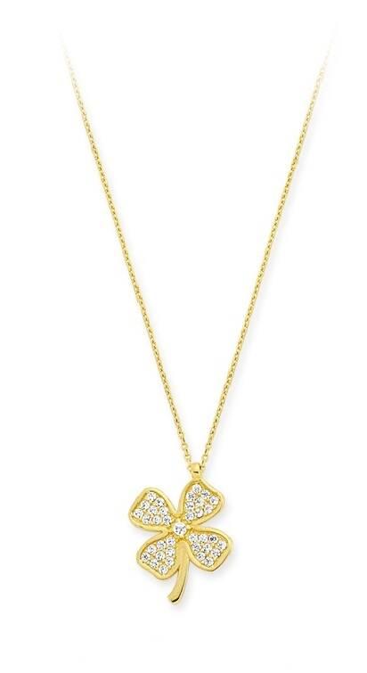 Yonca Yapraklı Taşlı Altın Kolye-KL6478-00-6631