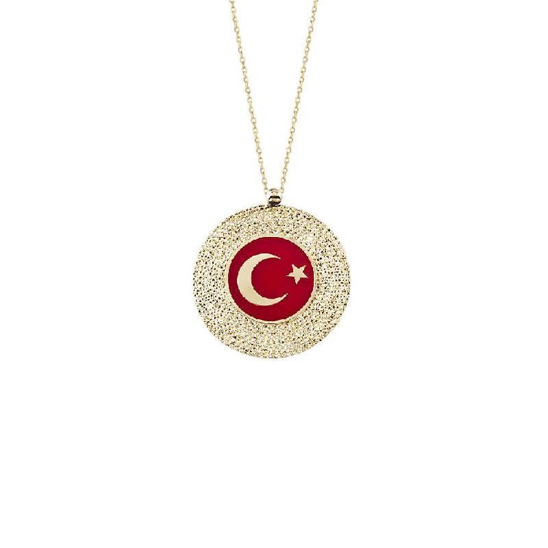 Türk Bayraklı Altın Kolye