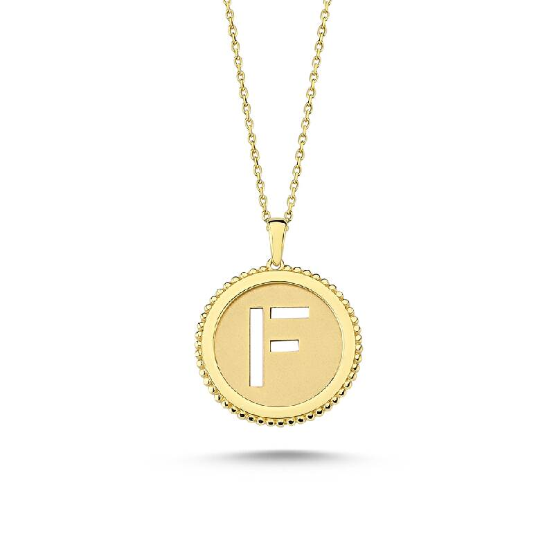 Altın F Harf Kolye