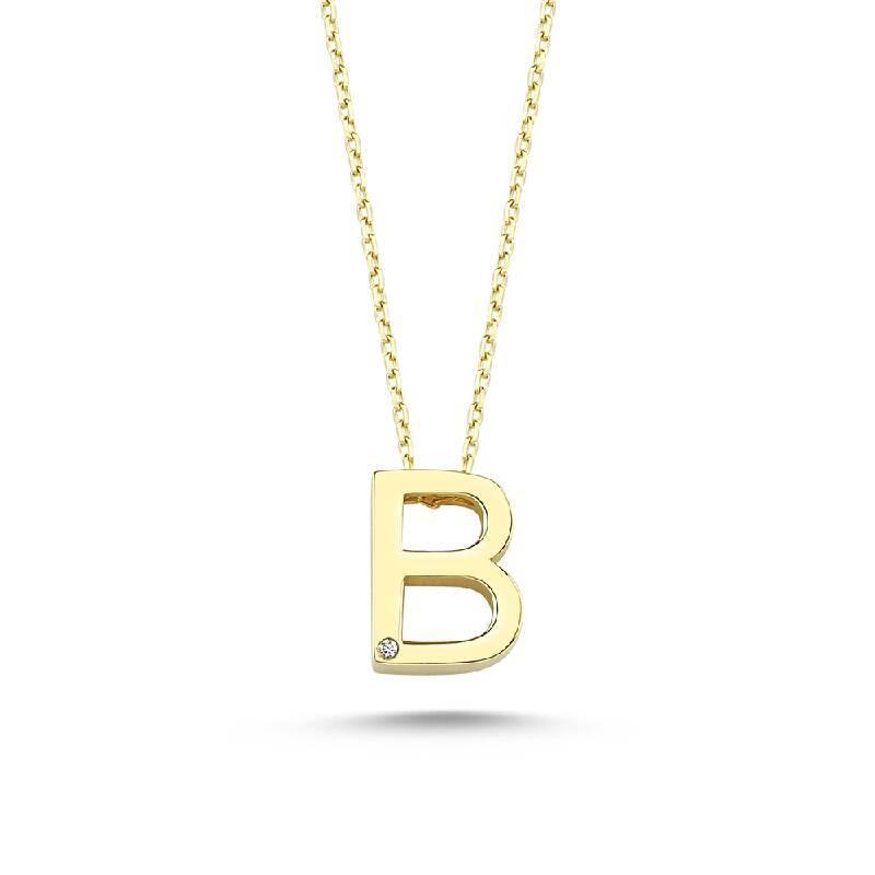Altın B Harf Kolye