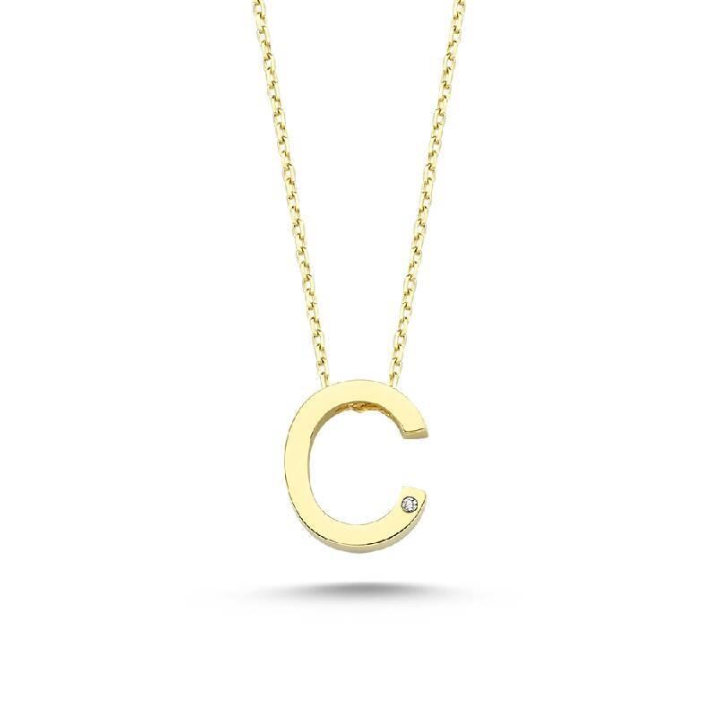 Altın C Harf Kolye