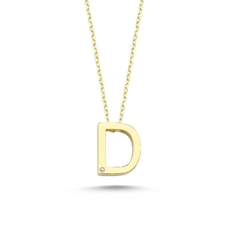 Altın D Harf Kolye