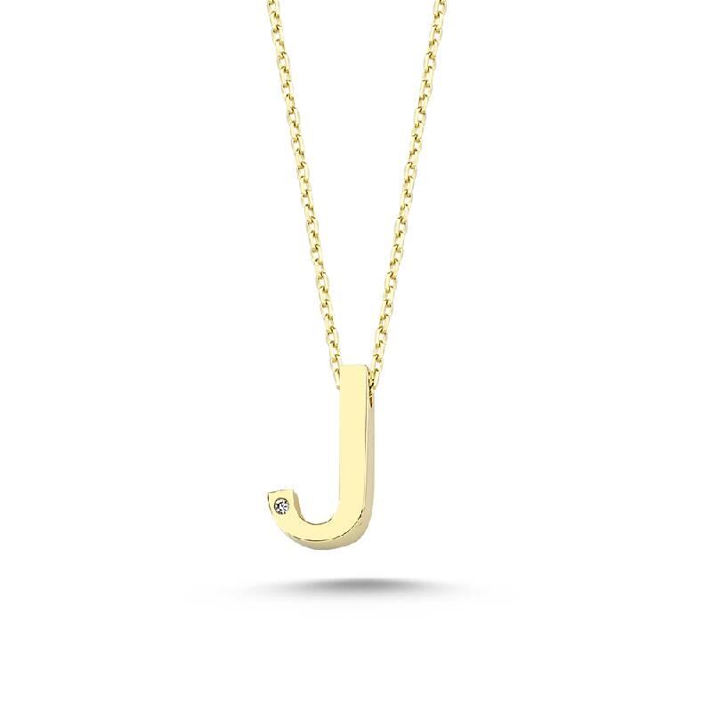 Altın J Harf Kolye