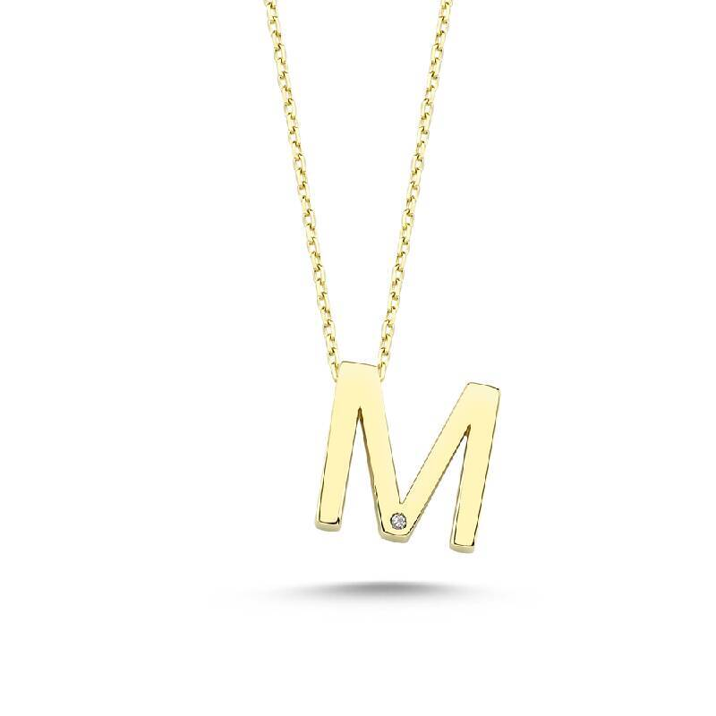 Altın M Harf Kolye