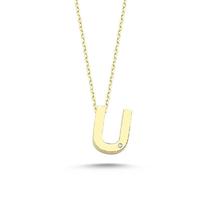 Altın U Harf Kolye
