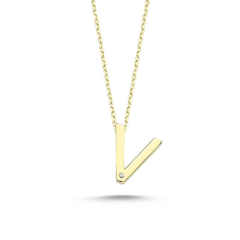 Altın V Harf Kolye