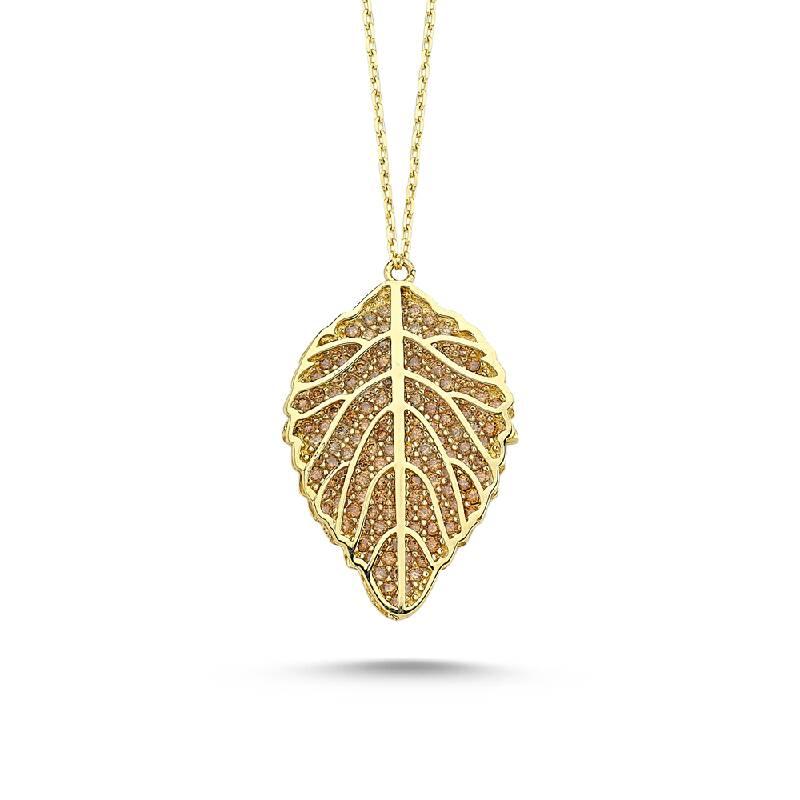 Altın Yaprak Figürlü Kolye