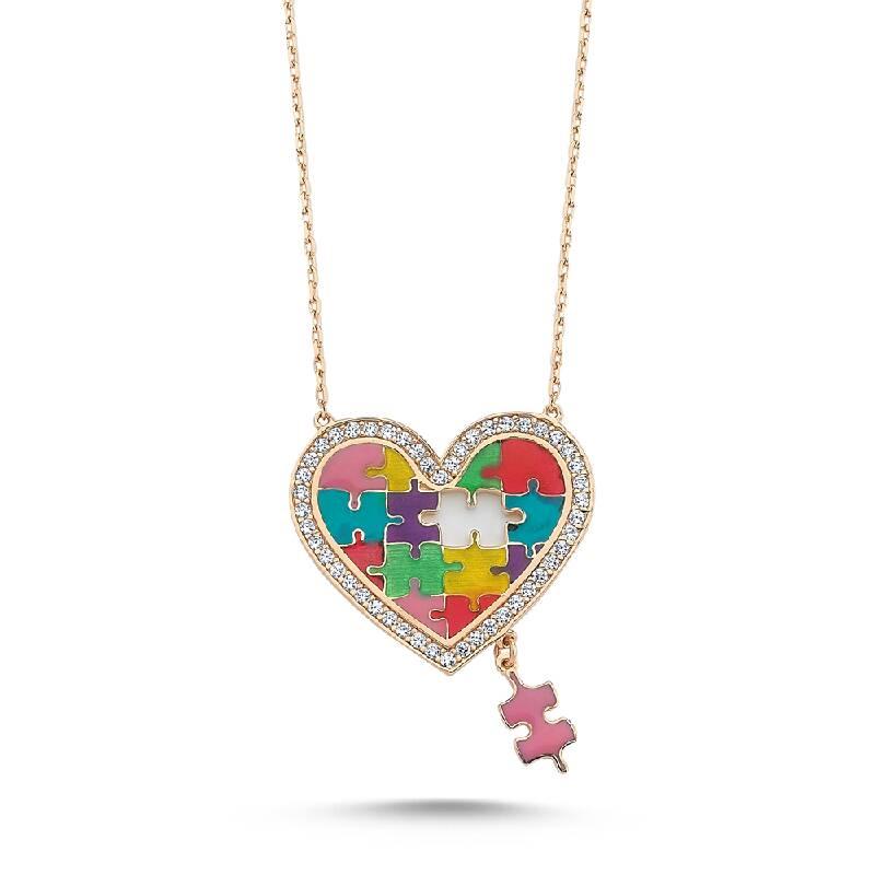 Altın Puzzle Kalp Kolye