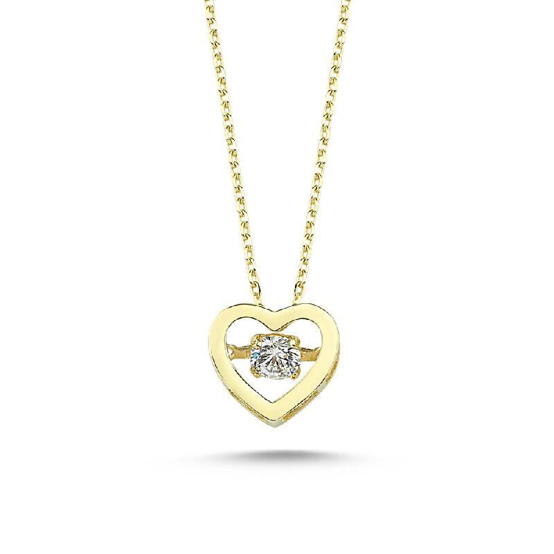Altın Taşlı Kalp Kolye