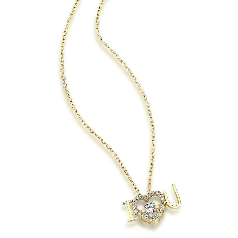 Altın Taşlı Kalp Figürlü Kolye