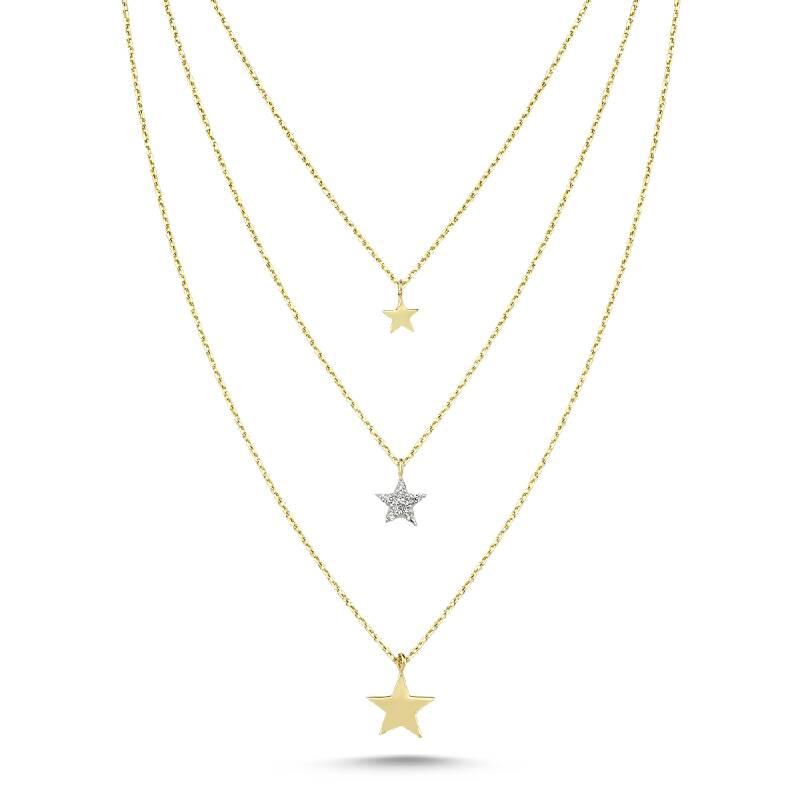 Altın Üç Zincirili Yıldızlı Kolye