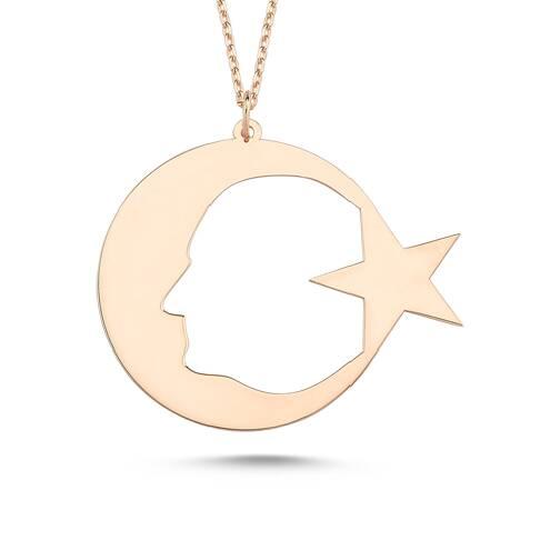 Atatürklü Ay Yıldız Altın Kolye