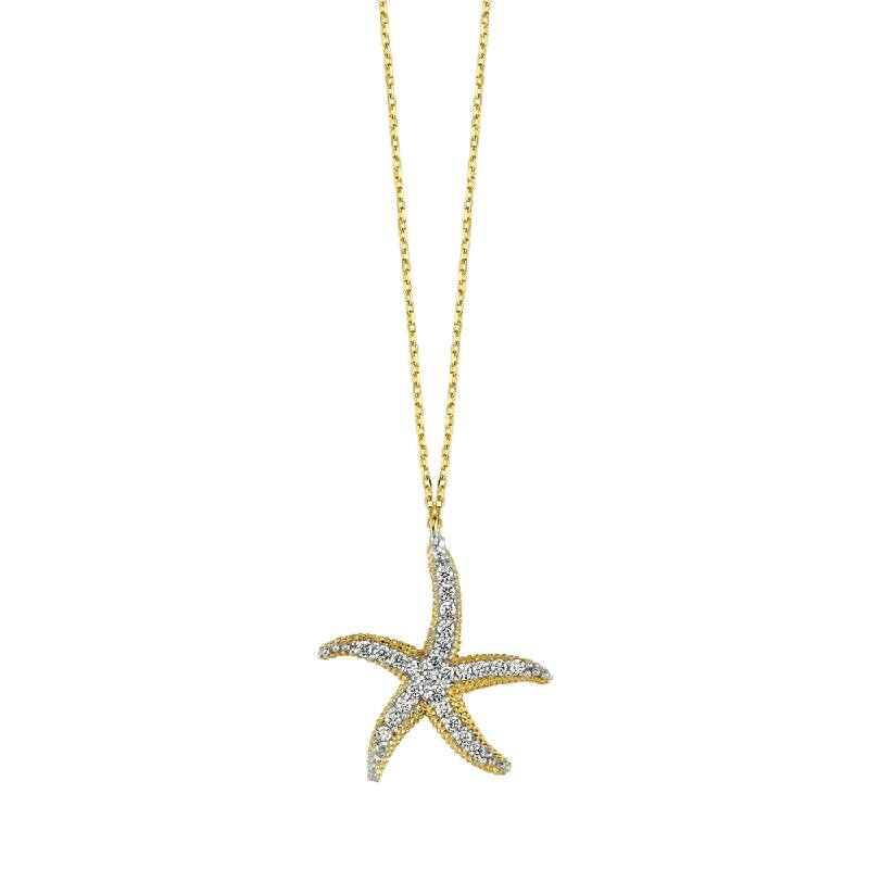 KL7843 Altın Deniz Yıldızı Kolye