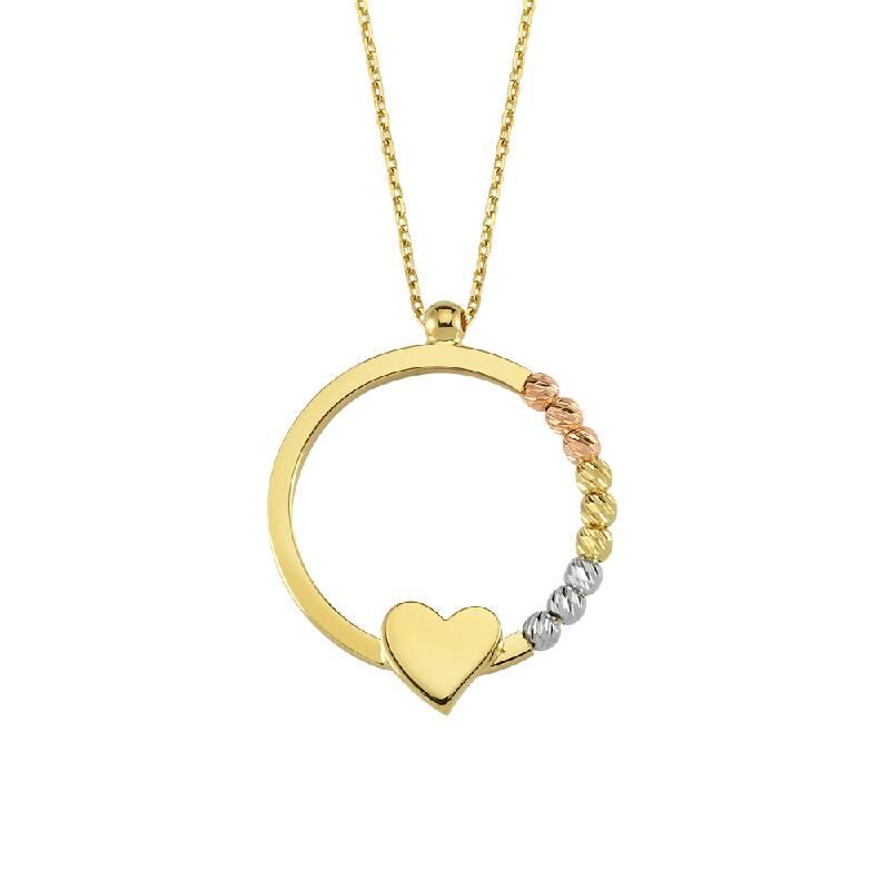 Altın Yuvarlak Kalp Figürlü Kolye