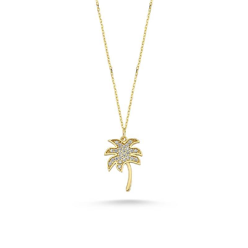 Yazın Simgelerinden Taşlı Palmiye Ağacı Altın Kolye