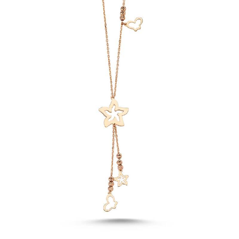 Yıldızlı Kalpli Altın Kolye-KL8082