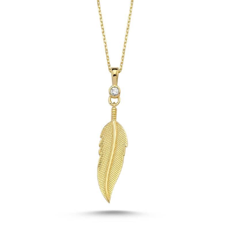 Kuş Tüyü Taşlı Altın Kolye