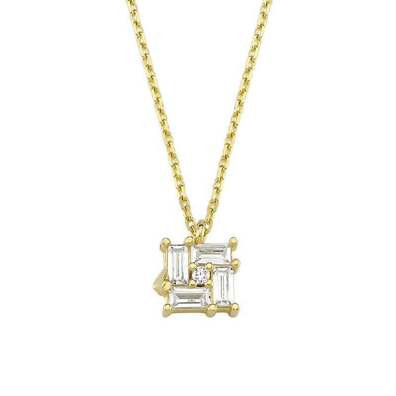 Baget Taşlı Altın Kolye-KL8138