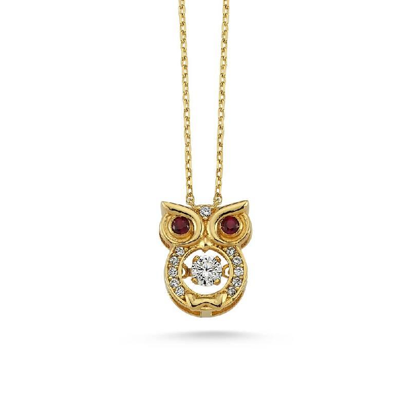 Baykuşlu Taşlı Altın Kolye-KL8195
