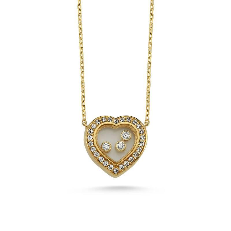Kalpli Taşlı Altın Kolye-KL8200