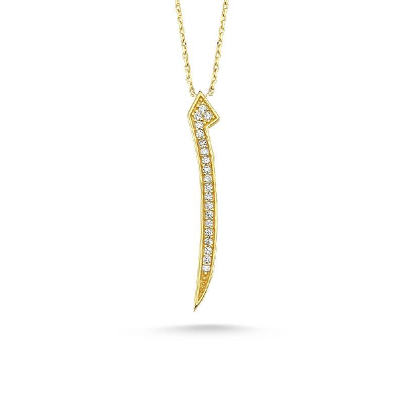 Taşlı Elif Altın Kolye-KL8211