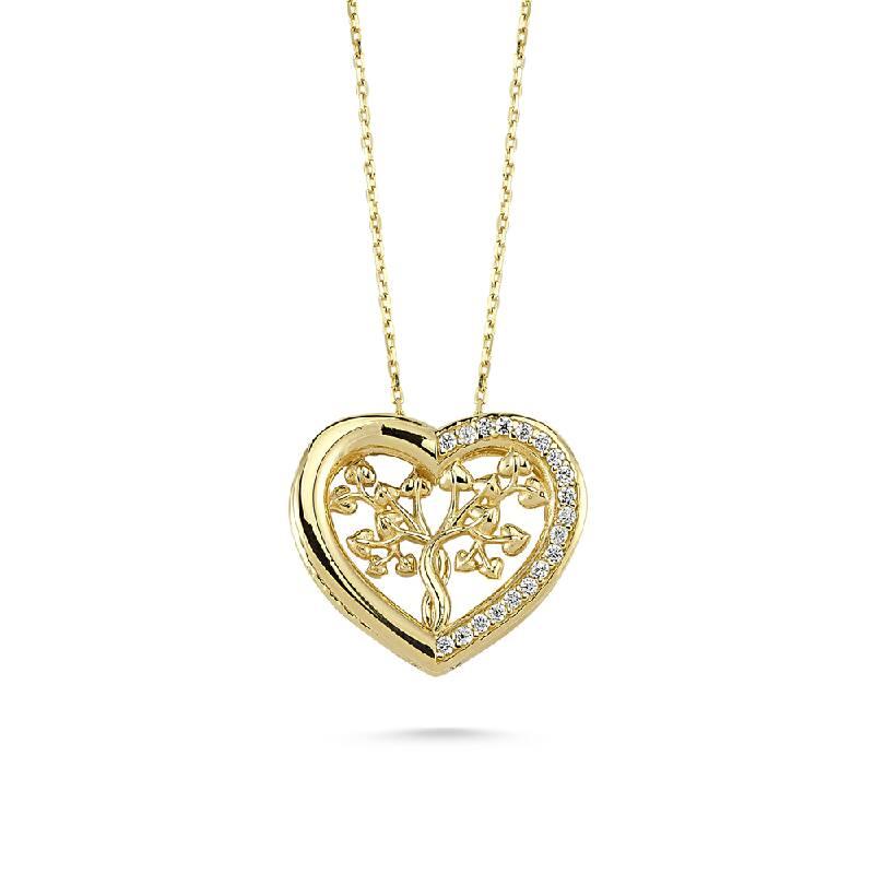 Kalpli Taşlı Altın Kolye