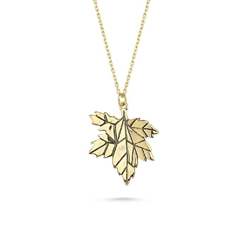 Çınar Yapraklı Altın Kolye-KL8308