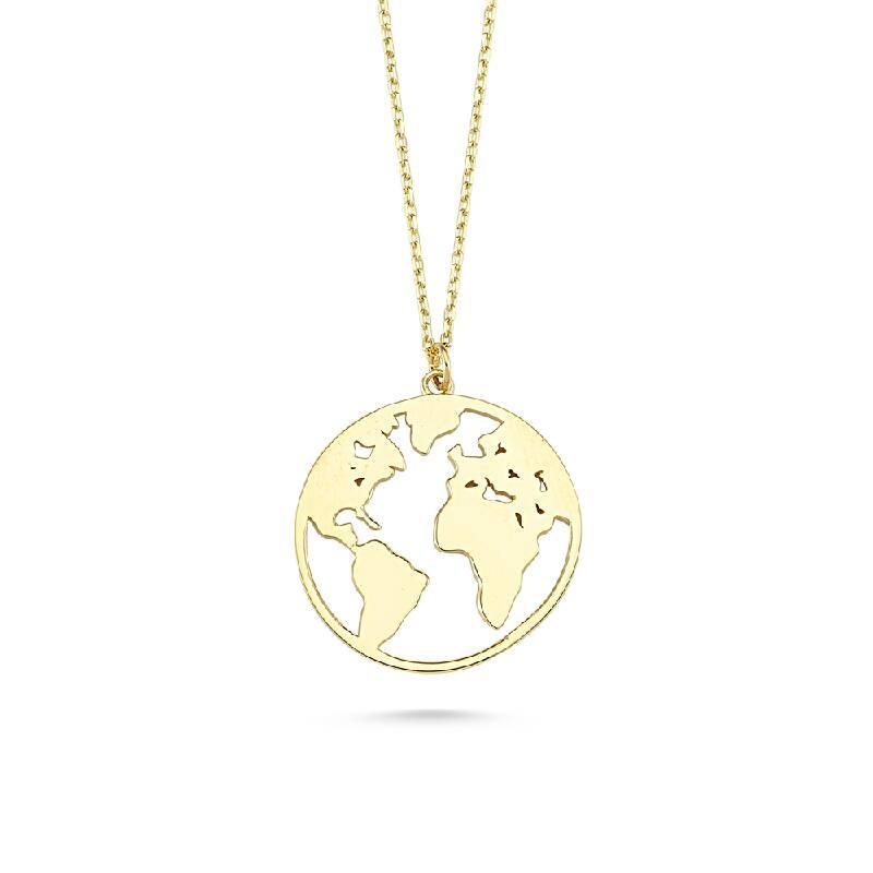 Dünya Haritası Formlu Altın Kolye