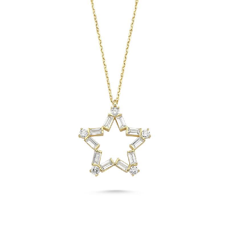 Yıldız Baget Taşlı Altın Kolye