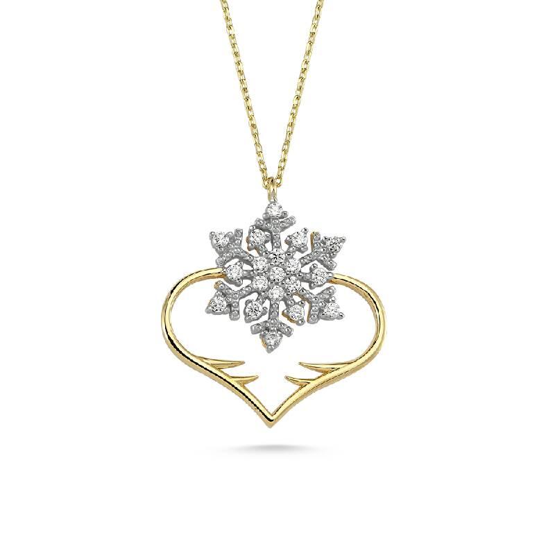 Kalpli Taşlı Altın Kolye-KL8367