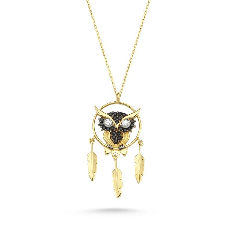 Baykuşlu Taşlı Altın Kolye