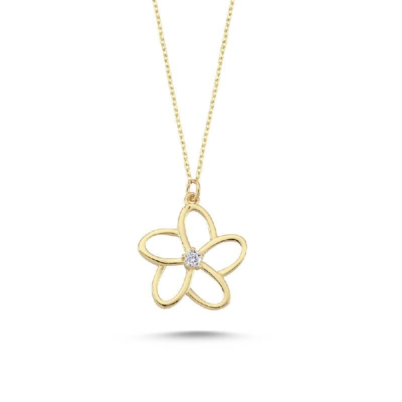 Çiçek Figürlü Altın Kolye
