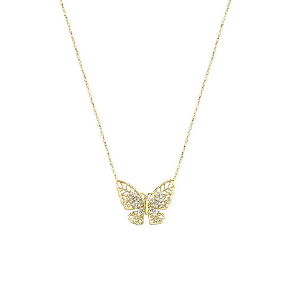 Kelebekli Taşlı Altın Kolye