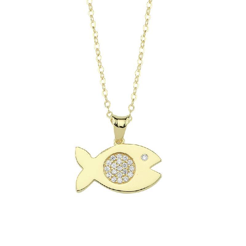 Balık Figürlü Taşlı Altın Kolye