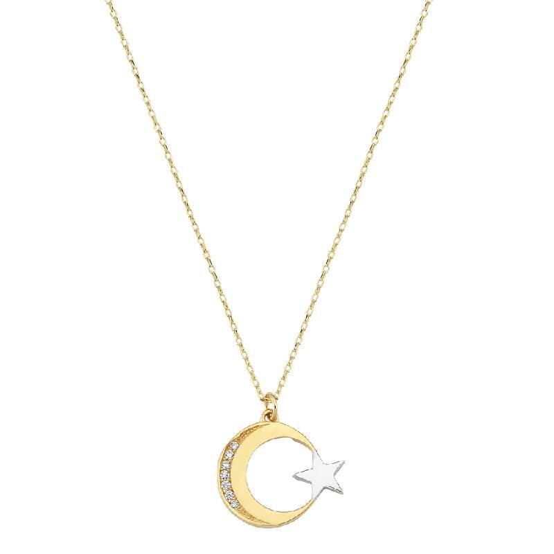 Ay Yıldız Taşlı Altın Kolye
