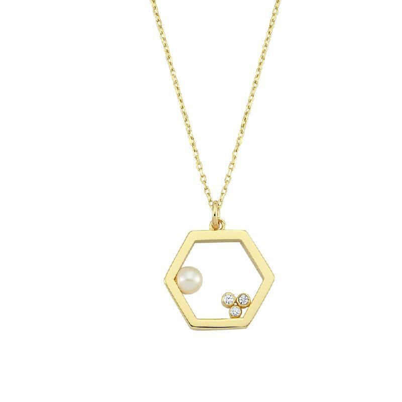 Geometrik Şekilli Taşlı Altın Kolye