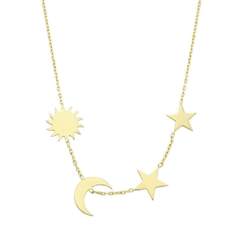 Güneş Ay ve Yıldız Altın Kolye