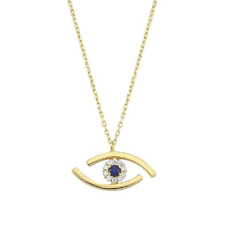 Mavi Göz Taşlı Altın Kolye