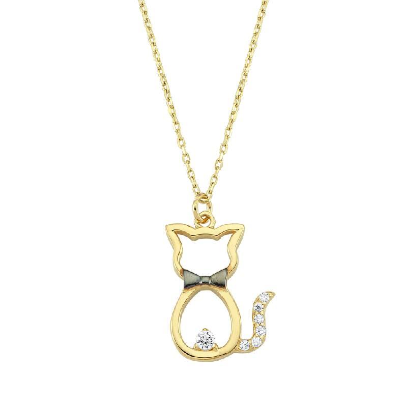 Kedi Figürlü Taşlı Altın Kolye